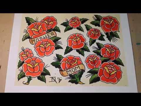 Sailor Jerry Style Roses Tattoo Flash Painting Youtube