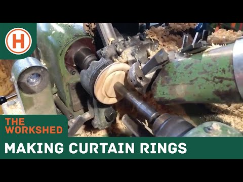 Turning timber curtain rings on a ERHA auto ring lathe