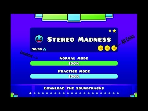 Geometry Dash Stereo Madness (All Coins)