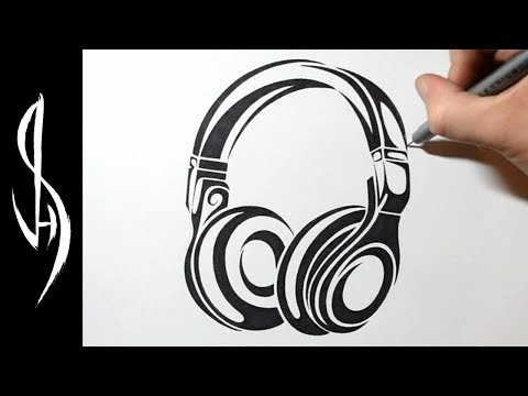 How to Draw Headphones - Graphic Abstract Tribal Art Tattoo Design