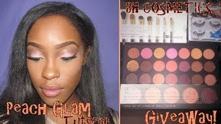 peach glam tutorial feat bh cosmetics blushed neutrals palette and giveaway closed