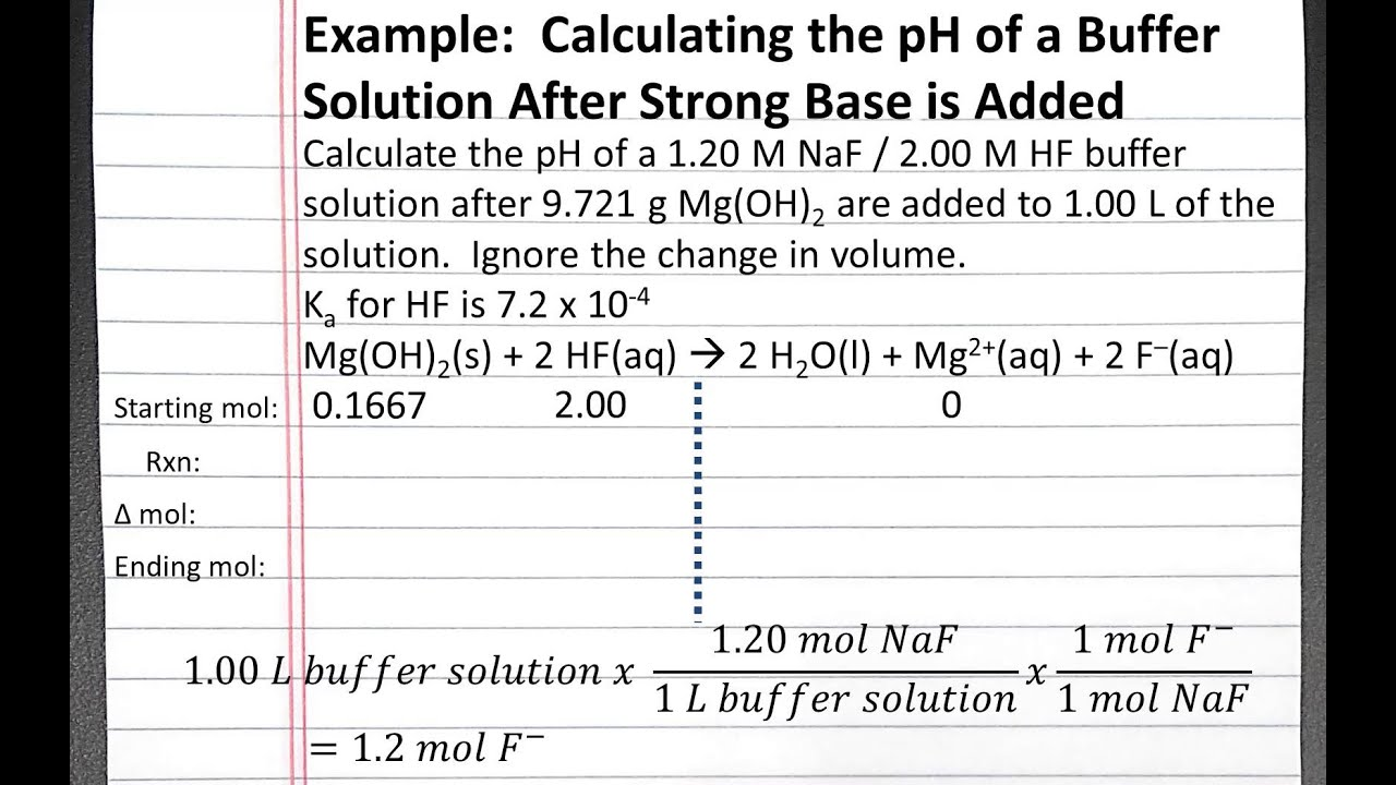 Chemistry 201 Calculating Ph After Adding A Strong Base Solid To A Buffer Solution