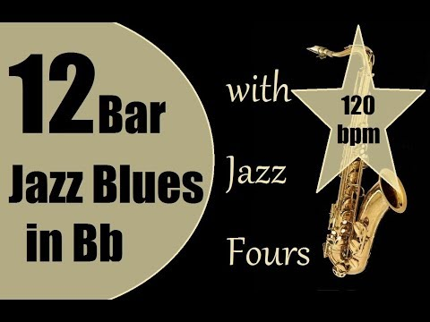 12 bar Jazz blues in Bb with Jazz fours Guitar Backing Track