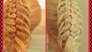 Микс из кос: Коса ажурная + Коса из 4 прядей с лентой. Видео-урок.