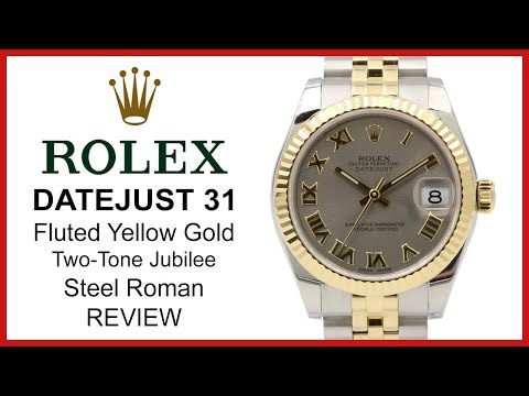 Rolex DATEJUST 31 Two-Tone yellow Gold/Steel, silver roman Dial, fluted Bezel, Jubilee - REVIEW