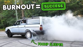 homepage tile video photo for The 700HP SLEEPER VOLVO is BACK! First Burnout Attempt = Success