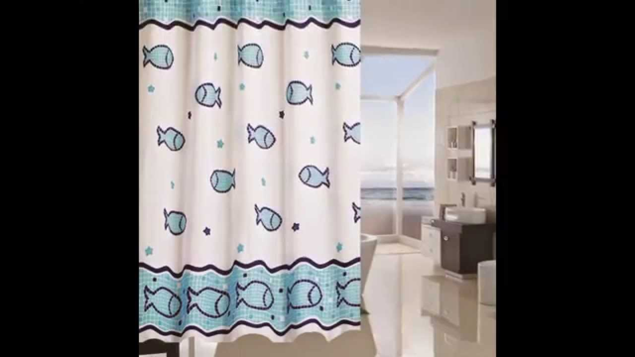 printed fish shower curtain ideas by