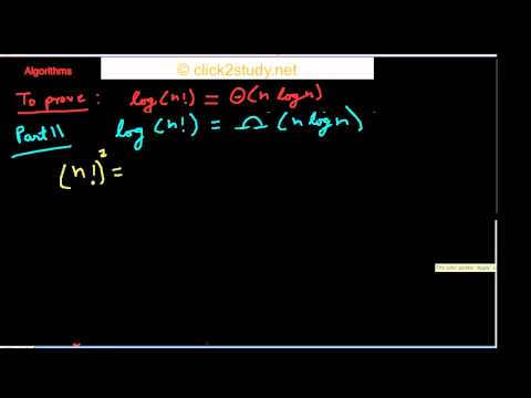 Algorithms example 1.001 - Proving logn! is in Θ(nlogn)