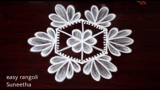 Beginners rangoli muggulu with 3 dots || Simple rangoli & kolam designs by Suneetha