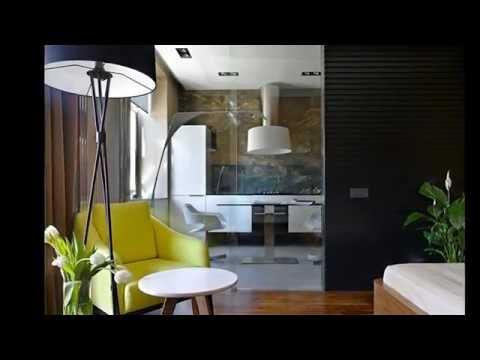 Дизайн квартиры студии 34 кв. м. Спальной комнаты, кухни и дизайн интерьера.