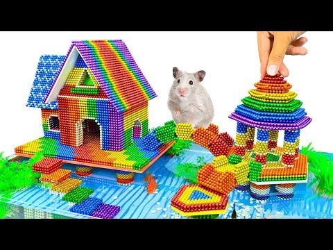 DIY - Building Chinese Mansion And Fish Pond With Magnetic Balls (Satisfying) - Magnet Balls