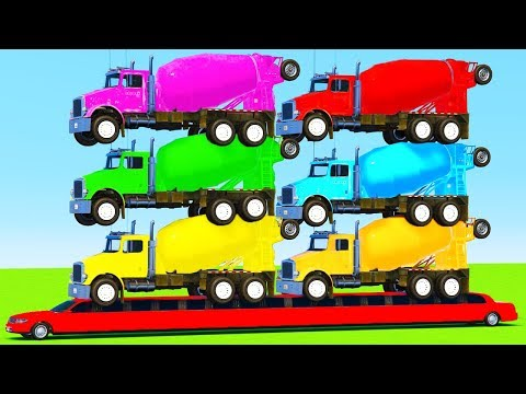 Thumbnail: LEARN COLORS for Kids w TRUCK on LONG CAR And Superhero Spiderman Cartoon for Children