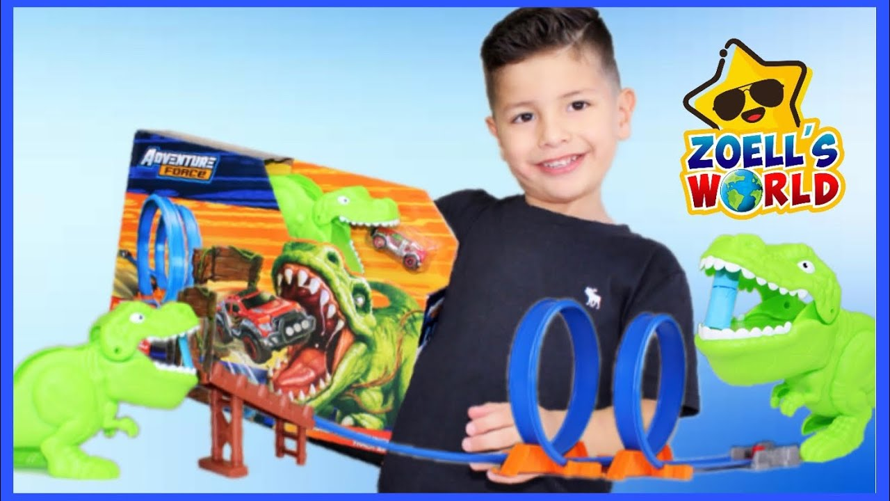 Adventure Force CHOMP and CRUNCH Track set to Review T-Rex Play set along with tons of Hot Wheels