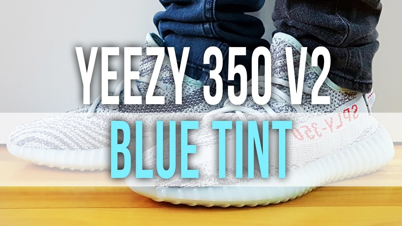 b6940dffd ADIDAS YEEZY BOOST 350 V2 BLUE TINT on Feet and Close Up - YouTube