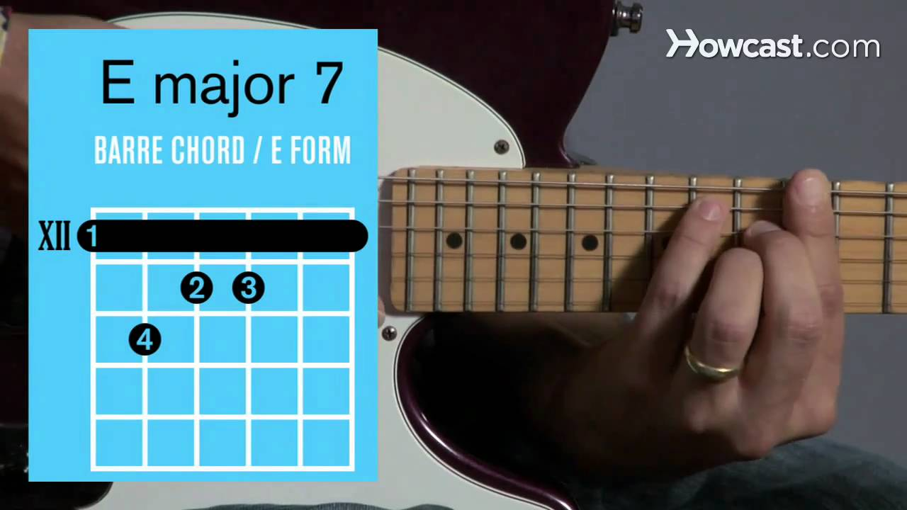 How To Play An E Major 7 Barre Chord Guitar Lessons Youtube