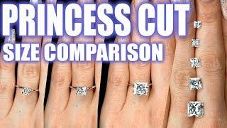 Princess Cut Diamond Size Comparison on Hand Finger 1 Carat Square Engagement Ring 2 ct 3 4 .5 .75