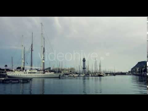 Sailboats In Yacht Marina Under Clouds Sky - Stock Footage | VideoHive 16562737