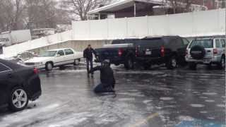 Utah Freezing Rain!! Parking Lot Solid Ice w/Olymp