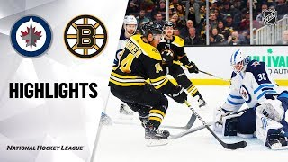 NHL Highlights | Jets @ Bruins 1/9/20