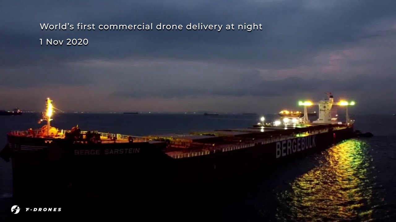 World's first commercial night drone delivery by F-drones