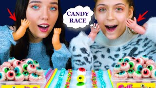 ASMR CANDY RACE WITH DOLL HANDS (CANDY BUTTONS, NERDS ROPE, JELLO CUPS) Eating Sound