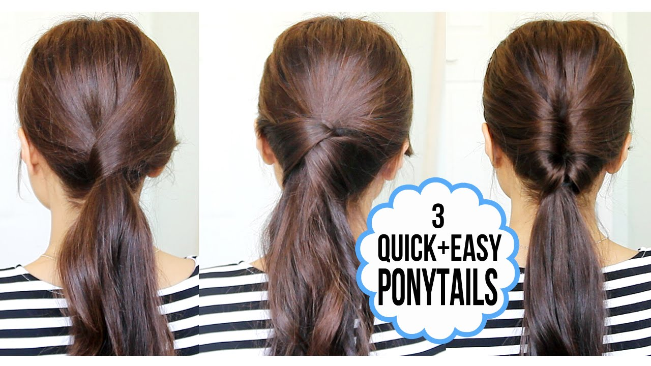 easy ponytail styles for long hair running late ponytail hairstyles hair tutorial 7794 | maxresdefault