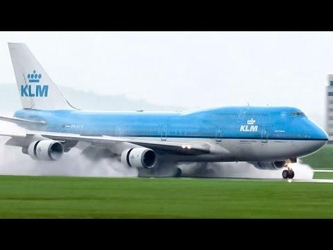 KLM 747-400 (B744) wet landing in Montreal (YUL/CYUL)