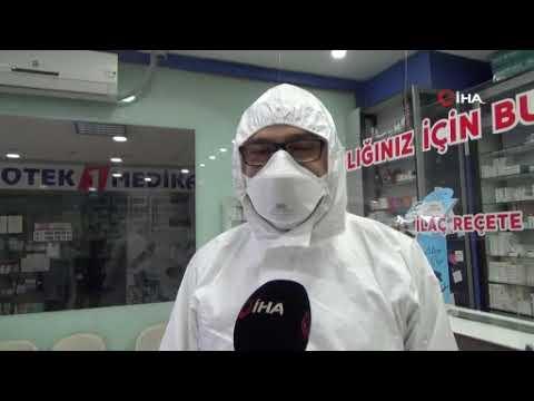 Eczane çalışanlarından korona virüs önlemi