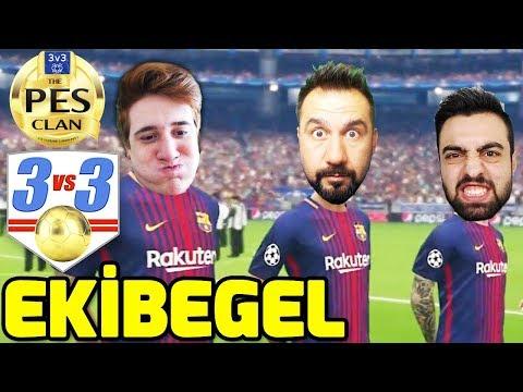 EKİBEGEL 3 VS 3 MAÇI! | PES 2018 ORTAKLAŞA ONLINE COOP