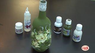 Aprenda customizar uma garrafa reaproveitando os papeis que sobram da decoupagem