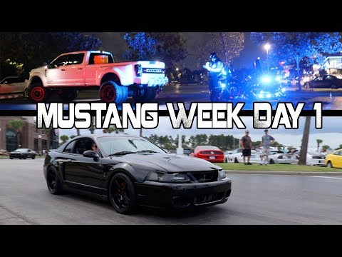 BURNOUTS = ARRESTED Mustang Week Day 1 2017 Meet and Greet Broadway at the Beach
