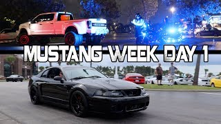 BURNOUTS = ARRESTED Mustang Week Day 1 2017 Meet and Greet Broadway at the Beach thumbnail