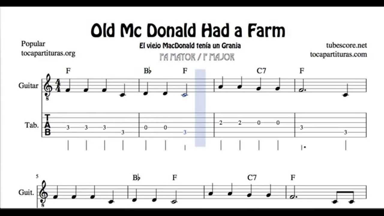 Old Mc Donald Had a Farm Tabs Sheet Music for Guitar in F major