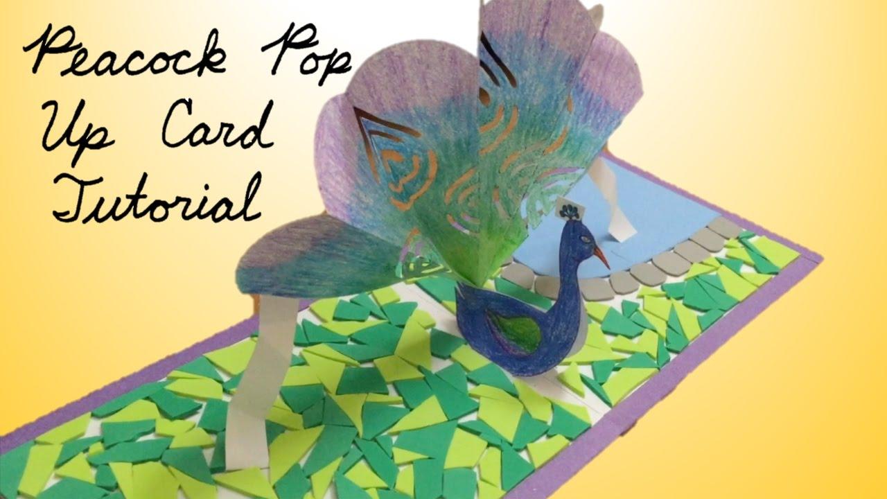 peacock pop up card tutorial youtube