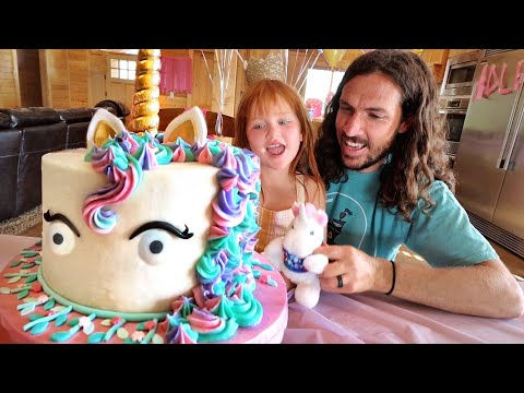 5 YEARS OLD!!  Unicorn Birthday Cake, Hidden Presents, Surprise Party inside an abandoned mansion!