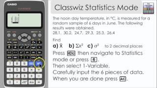 Casio Classwiz Statistics Mode - Find Mean, Variance & other information (991EX, 570EX)