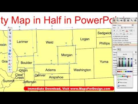 Dividing a State PowerPoint Map in Half to Make 2 Sales Territories, Video 2 • MapsForDesign.com