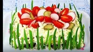 Яркий, сытный, праздничный салат со свининой и маринованными грибами