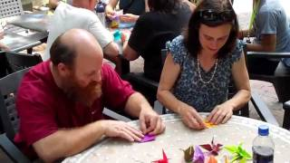 Asheville community comes together - Peace Cranes for Judith Hallock Thumbnail
