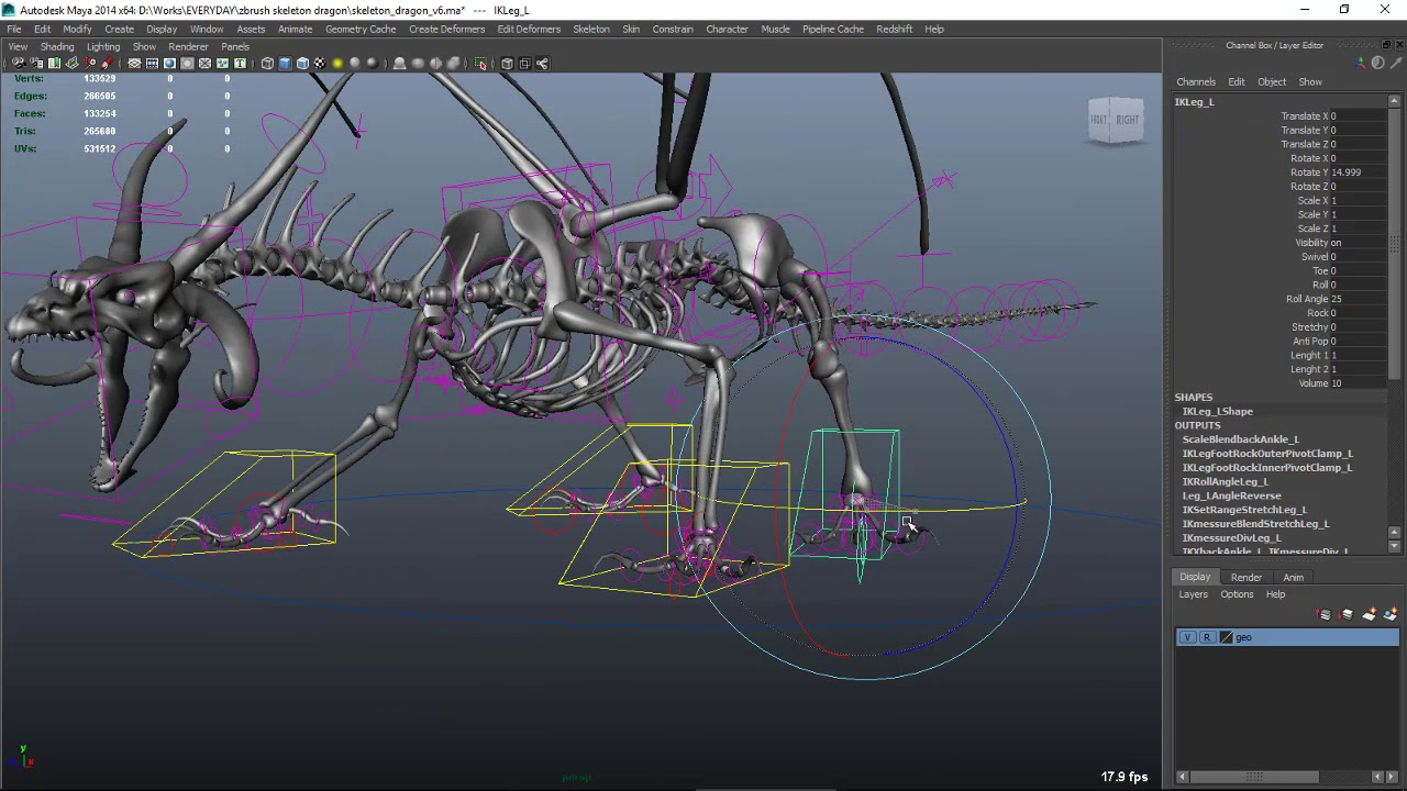 Posing Skeleton dragon (Maya Rig)