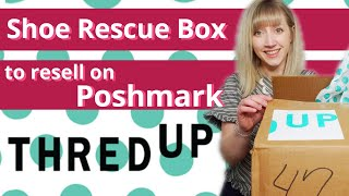 ThredUP 25 Pair Rescue Shoe Box to Resell on Poshmark & Ebay | How To Make Money Online #thrifthaul