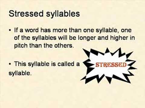 Identifying Syllable Stress Youtube