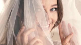 Portrait Bride Veil Covering Her Face Smiling