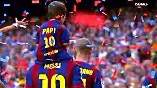 Celebración de Lionel Messi y su hijo en el Camp Nou   FC Barcelona La Liga 2014-2015