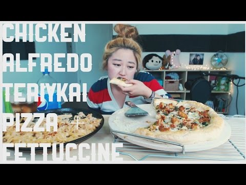 How to create Chicken Alfredo Teriyaki Pizza and Fettuccine | KEEMI MUKBANG