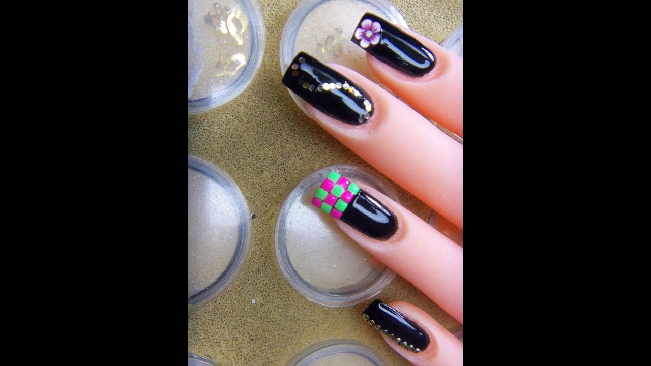 uñas negras con varios diseños - YouTube