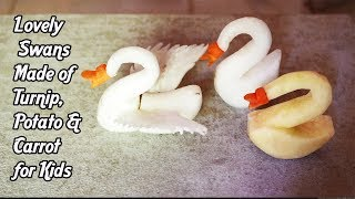 Lovely Swans Made of Turnip, Potato & Carrot for Kids | Most Satisfied Video on YouTube Today