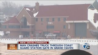 Man crashes truck through Coast Guard station gate in Grand Haven