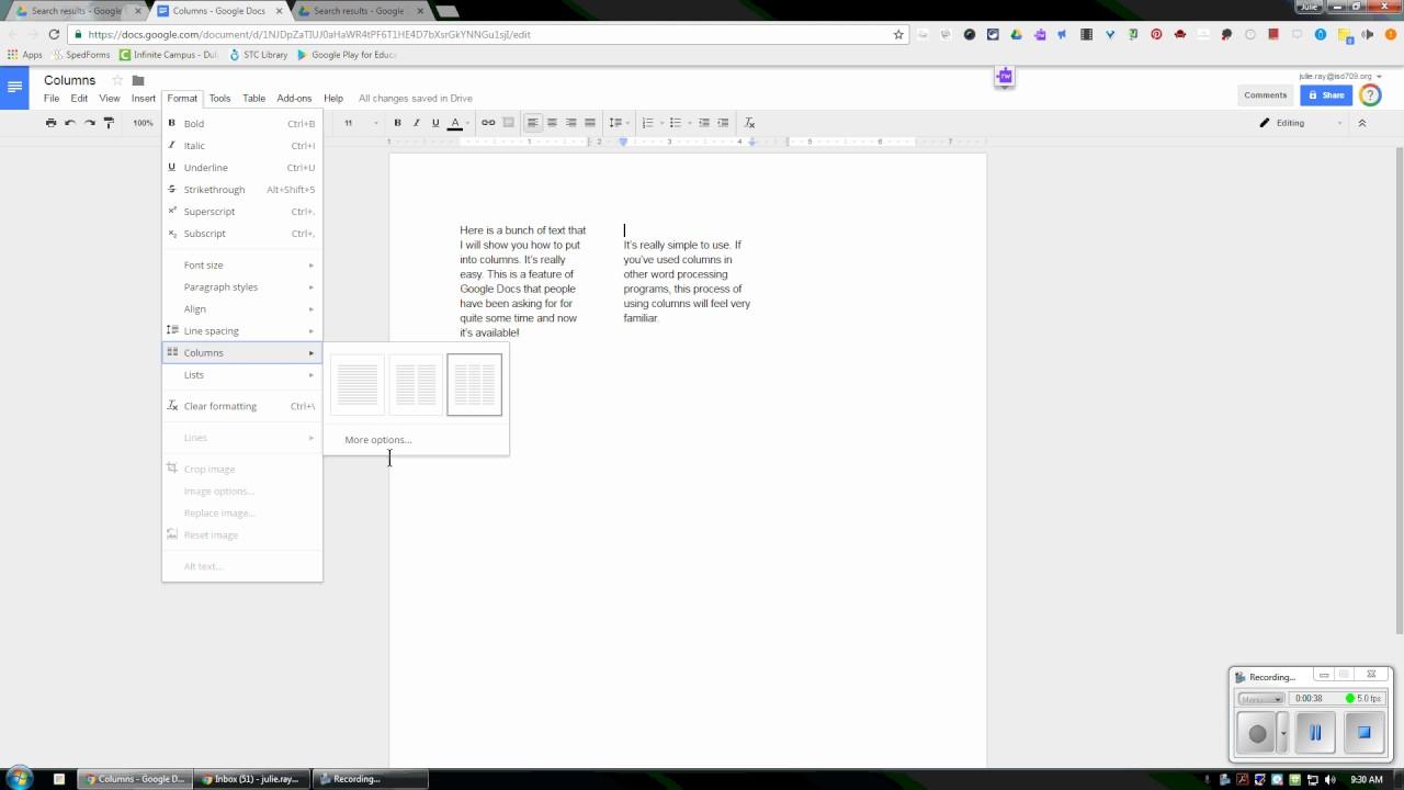 Columns In Google Docs YouTube - Google docs columns