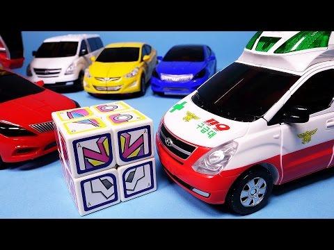 헬로카봇 큐브 장난감과 또봇 다이노포스  Hello Carbot Cube, Ambulance Robot Car toys